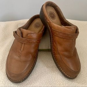 EUC Ugg brown leather, sterling liners mules/clogs